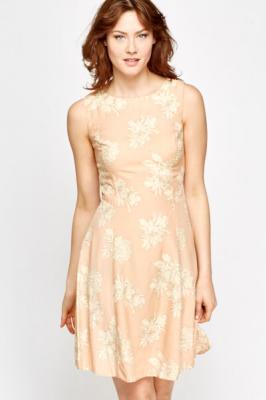 Peach Floral Print Shift Dress